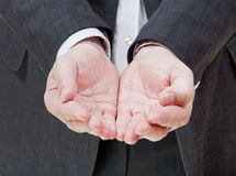 Handful from two palms - hand gesture Royalty Free Stock Images