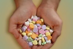 Handful of Valentine candy. stock photography