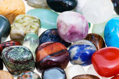 Handful of various gem stones close up Royalty Free Stock Photo