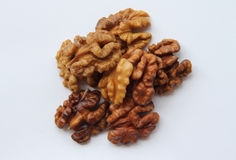 A handful of walnuts. On a white background Stock Images