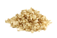 A handful of wood chips. On a white background royalty free stock photos