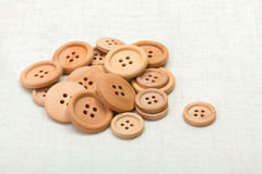 Handful of wooden buttons Stock Photos