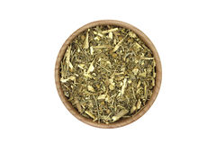 A handful of wormwood in a wooden bowl Royalty Free Stock Images