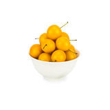 Handful of yellow cherry plums Royalty Free Stock Photo