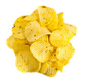 Handful of yellow potato chips Royalty Free Stock Photos