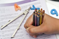 A handfull of crayons Royalty Free Stock Images