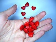 Handfull de corazones Imágenes de archivo libres de regalías