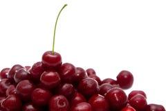Handfull en röd körsbär på en vit bakgrund Arkivfoto