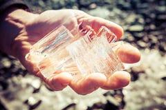 Handfull of Ice Shards Stock Photo