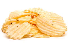 A handfull of potato chips royalty free stock photography