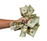 Handfull skrynkliga pengar som isoleras på vit Royaltyfri Bild
