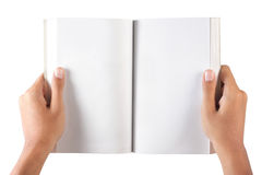Handgeöffnetes unbelegtes Buch stockfotos