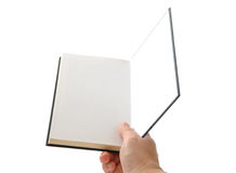 Handgeöffnetes unbelegtes Buch Stockbilder