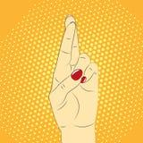 Handgebaar, gekruiste vingers tegen de achtergrond van pop-art vector illustratie