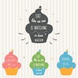 Handgefertigte Illustration des kleinen Kuchens auf Typografie-Plakat Humorvolles Sprechen für Karten, beschriftet und fertigt ku Stockfotografie