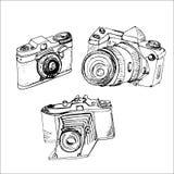 Handgemacht, Kameras, Tintenzeichnung, Fotoapparat, Skizze, Lizenzfreies Stockfoto