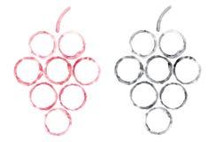 Handgemachte Aquarellweinflecke bilden Form der Traube Abstrakte Aquarellskizzenillustration vektor abbildung