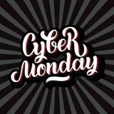 Handgemachte Beschriftung cyber-Montag-Verkaufs, Kalligraphiehintergrund für Logo, Fahnen, Aufkleber, Ausweise, Drucke, Poster, N Stockfotografie
