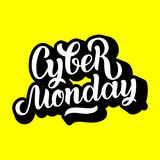 Handgemachte Beschriftung cyber-Montag-Verkaufs, Kalligraphiehintergrund für Logo, Fahnen, Aufkleber, Ausweise, Drucke, Poster, N lizenzfreie abbildung
