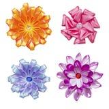 Handgemachte Blumen gemacht vom Bandsatz Stockfoto