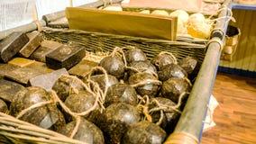 Handgemachte botanische Seifen, rustikales Geschäft stockfotografie