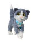 Handgemachte felted Spielzeugkatze Lizenzfreies Stockfoto