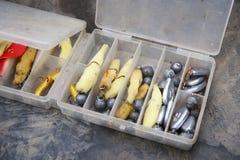 Handgemachte Fischereiköder stockbilder