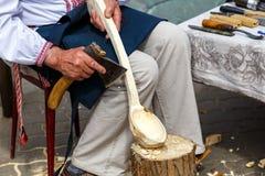Handgemachte Heu- und Flachsprodukte an der Messe von Völkern Lizenzfreies Stockbild