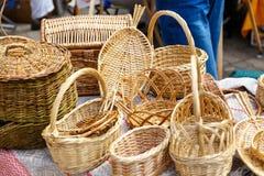 Handgemachte Heu- und Flachsprodukte an der Messe von Völkern Lizenzfreie Stockfotos