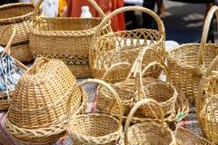 Handgemachte Heu- und Flachsprodukte an der Messe von Völkern Lizenzfreies Stockfoto