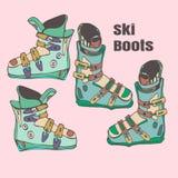 Handgemachte Illustration der Skischuhe Stockfoto