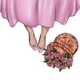 Handgemachte Illustration von Mädchenschuhen und Korb von frischen Rosen stock abbildung