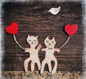 Handgemachte Katzen als Liebhaber Lizenzfreie Stockbilder