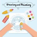 Handgemachte kreative Kinderfahnen Kreative Prozessfahnen mit Kindermalerei und der Handarbeit der Kinder Auch im corel abgehoben Stockfotos