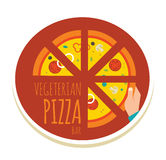 Handgemachte Pizzaillustration Pizzaikone für a Stockfotografie
