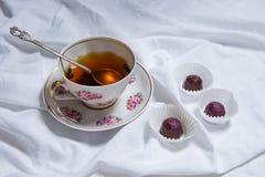 Handgemachte Schokoladen liegen auf weißer textil Hintergrundtabelle Handgemachte Bonbons Stockfotografie