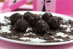 Handgemachte Schokoladen-Trüffeln Lizenzfreie Stockfotos