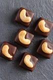 Handgemachte Schokoladenbonbons mit Acajoubaum Stockfoto