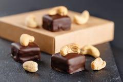 Handgemachte Schokoladenbonbons mit Acajoubaum Lizenzfreie Stockfotografie