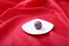 Handgemachte Schokoladenpralinen der Zartheit auf weißer Untertasse Lizenzfreie Stockfotografie