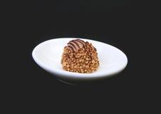 Handgemachte Schokoladenpralinen der Zartheit auf weißer Untertasse Stockfotografie