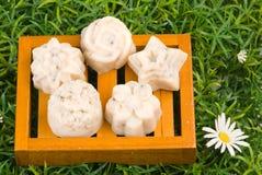 Handgemachte Seife auf grünem Gras Lizenzfreies Stockfoto