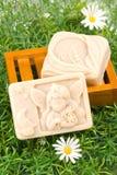 Handgemachte Seife auf grünem Gras Stockbilder