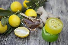 Handgemachte Seife des Honigzitronen-Ingwers, verfasst für Badekuren Stockbild