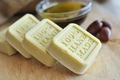 Handgemachte Seife des Olivenöls Lizenzfreies Stockbild