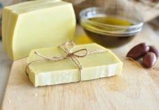 Handgemachte Seife des Olivenöls Stockbild