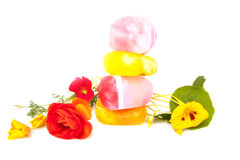 Handgemachte Seifen-Felsen mit Kraut und Blumen Stockbild