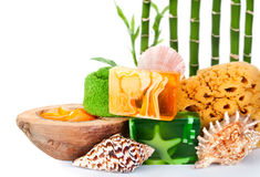 Handgemachte Seifen und Schönheitssorgfalthilfsmittel Lizenzfreie Stockfotografie