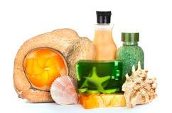 Handgemachte Seifen und Schönheitssorgfalthilfsmittel Lizenzfreies Stockfoto