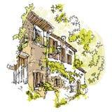 Handgemachte Skizze der alten Straße Lizenzfreies Stockfoto